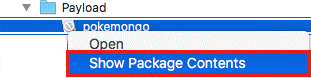 """select """"Show Package Content"""""""