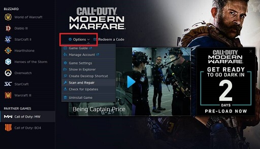 tab on Options in Call Of Duty Files