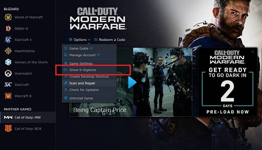 Choose Show in Explorer in Call Of Duty Files