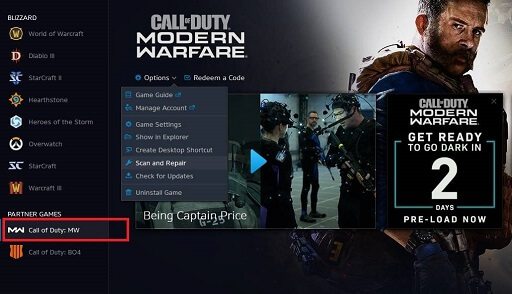 Select Call of Duty in DirectX