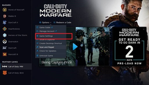 Choose Game Settings in Try DirectX
