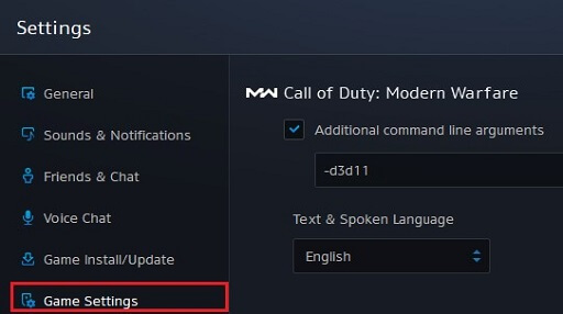 Select Game Settings in Try DirectX