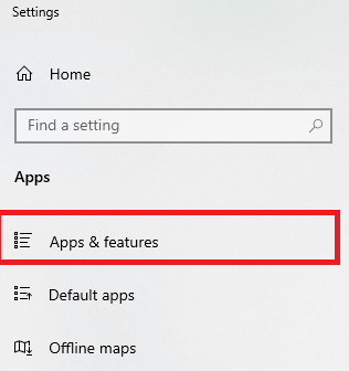 click on Apps and Features