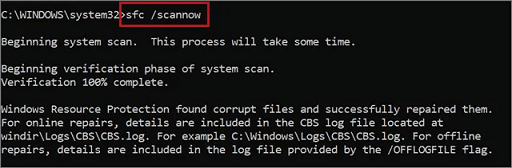 Check the System Files via command prompt