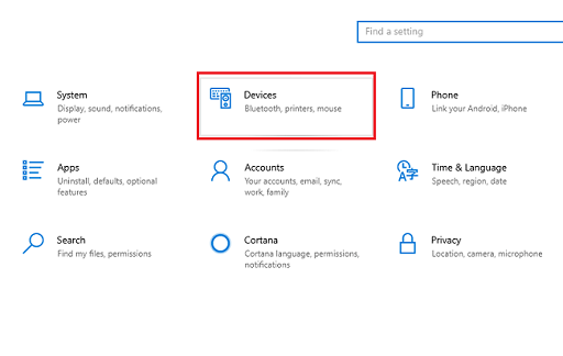 windows devices setting