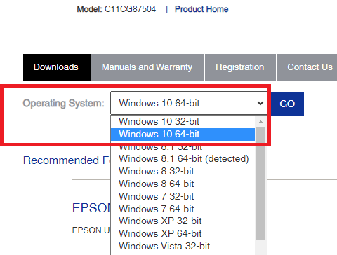 Chose the Windows operating system to download the Epson L380 driver