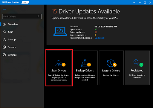 Bit Driver Updater scan the driver