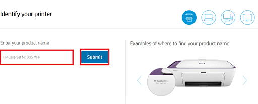 Download HP LaserJet M1005 MFP Enter Name and submit