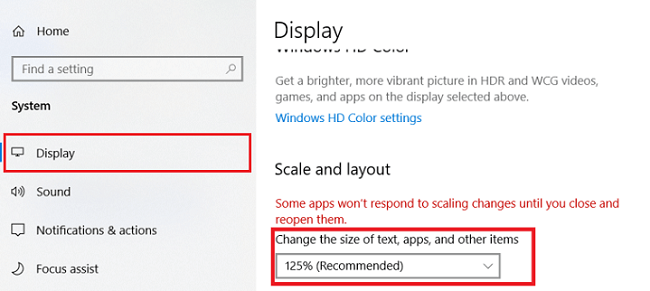Change the Scale and layout settings