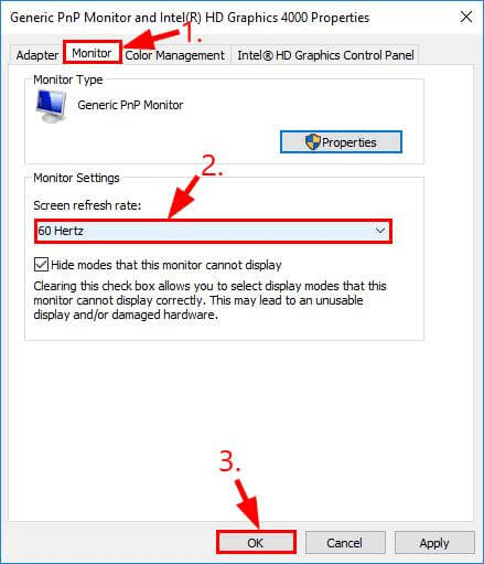 change the monitor refresh rate