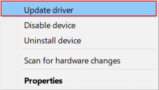 pick the Update driver option