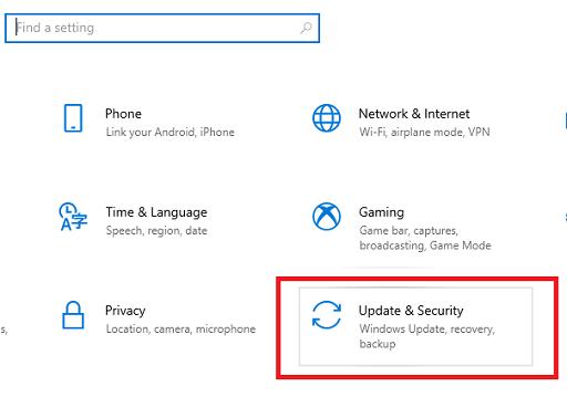 pick Update & Security