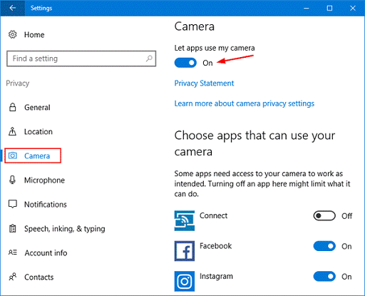 Turn on the toggle to allow apps to access the camera on your device