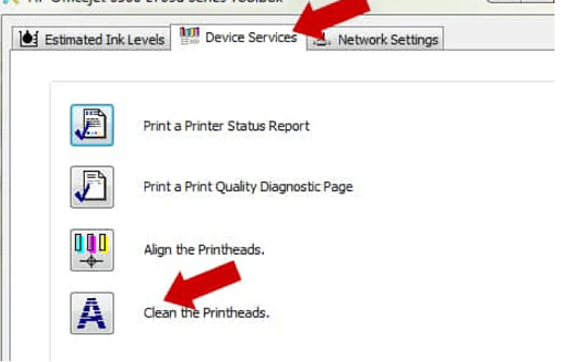 Click on clean the printhead into Device services