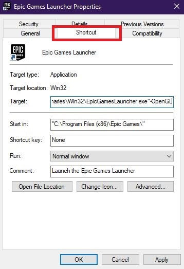 Configure Properties Of Epic Games Launcher
