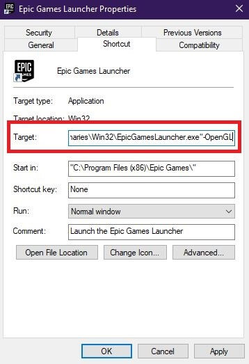 Configure Properties Of Epic Games Launcher-1