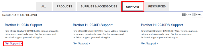 Brother HL-2240 Get Support from Support Menu