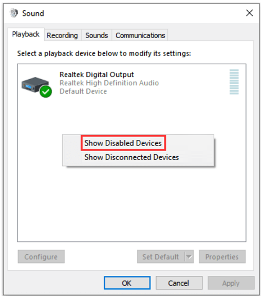 Choose Show Disabled Devices