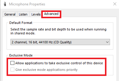untick the Allow applications to take exclusive control of this device option