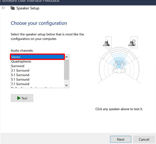 Click on Audio channels and choose Stereo