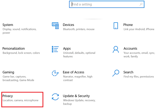Select the Privacy settings in windows setting