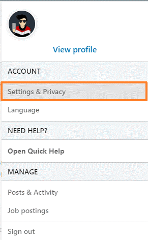 Make Changes in Account Settings - Go to Setting and Privacy
