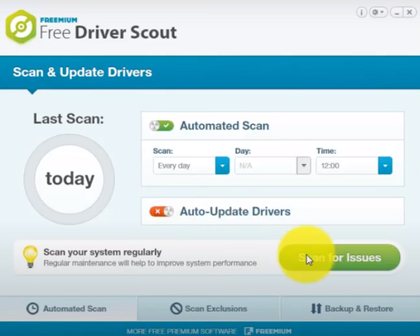 Main Screen and Interface of the Free Driver Scout