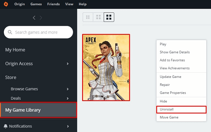Right-click Apex Legends and choose the Uninstall