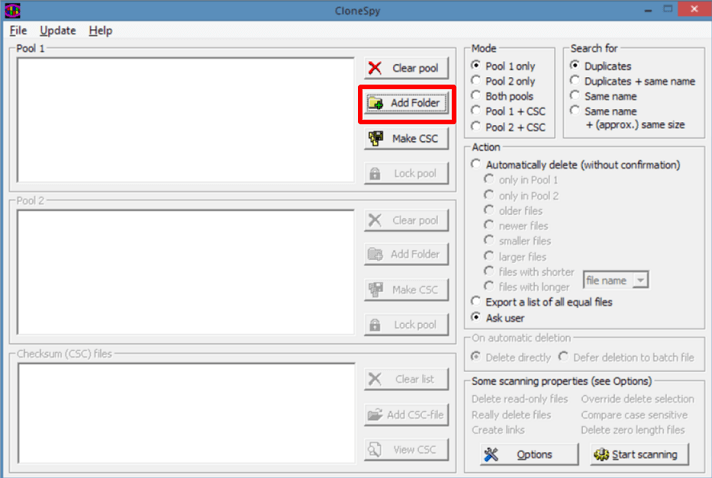 Install the CloneSpy and launch it and now click on add folder
