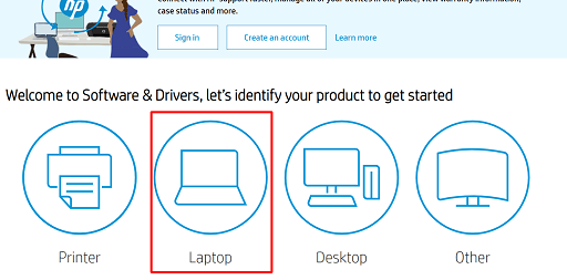 """Click on the Laptop option available under the """"identify your product"""