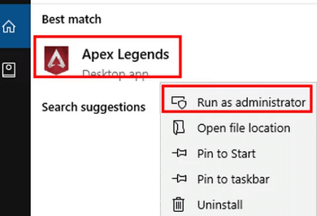 right-click on Apex Legends and run it as an administrator