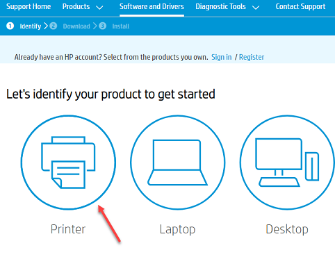 Choose the Printer option from the products displayed