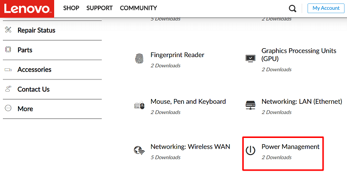 Click on the the Power Management option