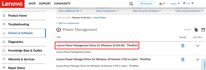 Click on the Lenovo power management driver for Windows 10