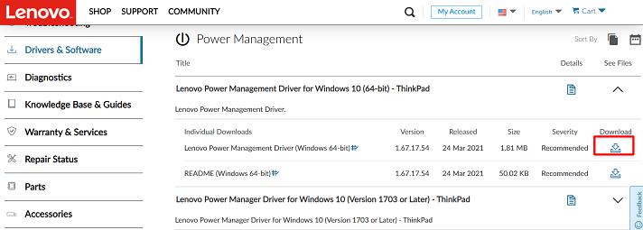Click on the download icon of Lenovo power management driver for Windows 10