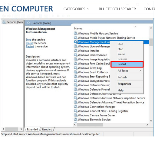 Start Windows Management Instrumentation (WMI Provider Host) service again