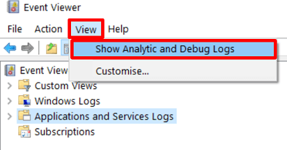 Show Analytic and Debug Logs