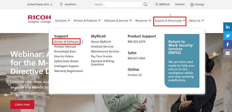 Hit the button of Support & Downloads tab and select Drivers & Software