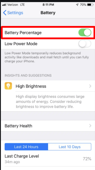 Add battery percentage on iPhone Battery Setting turn on Percentage