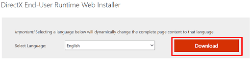 Use the runtime web installer to download DirectX