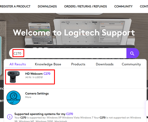 Search Logitech C270 HD webcam driver in the official website