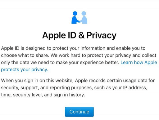 Click on Continue on the warning page of apple id privacy