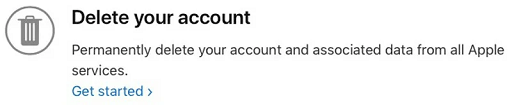 click on Get Started option under the Delete your account