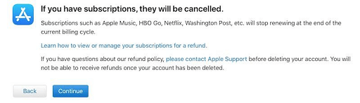 subscriptions will cancel if you click on Continue