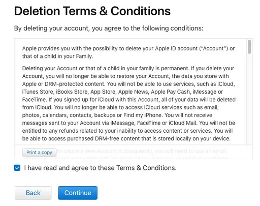 Deletion Terms and Conditions