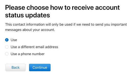 Choose how to receive account status updates