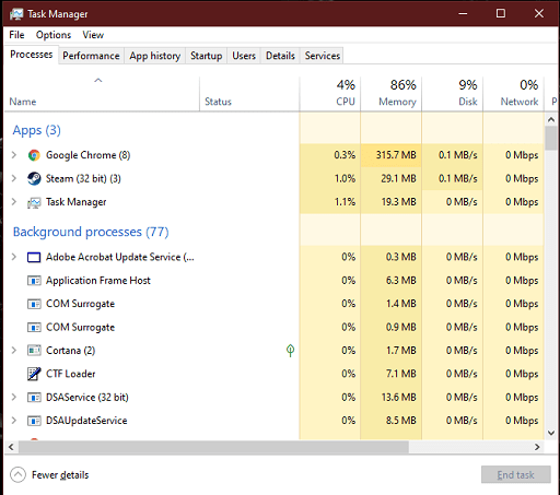 Restart the Steam and Computer- Open task manager