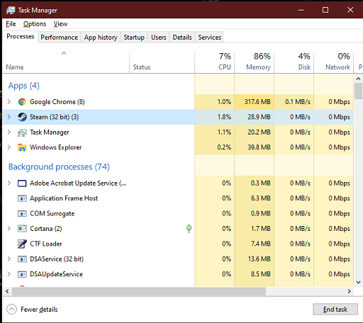 Restart the Steam and Computer - In task manager find steam