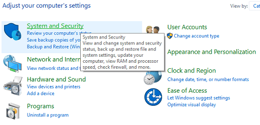 Disable Windows Firewall or Antivirus - Click on system and security