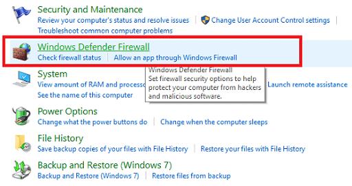 Disable Windows Firewall or Antivirus - Click on windows defender firewall